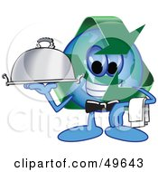 Royalty Free RF Clipart Illustration Of A Recycle Character Mascot Serving A Platter by Toons4Biz