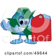 Royalty Free RF Clipart Illustration Of A Recycle Character Mascot Holding A Red Price Tag by Toons4Biz