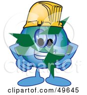 Royalty Free RF Clipart Illustration Of A Recycle Character Mascot Wearing A Hard Hat by Toons4Biz