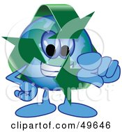 Royalty Free RF Clipart Illustration Of A Recycle Character Mascot Pointing Outwards