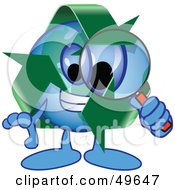 Royalty Free RF Clipart Illustration Of A Recycle Character Mascot Using A Magnifying Glass by Toons4Biz