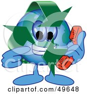 Recycle Character Mascot Holding A Phone