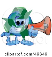 Royalty Free RF Clipart Illustration Of A Recycle Character Mascot Using A Megaphone by Toons4Biz