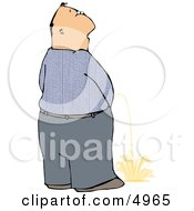 Man Peeing On The Ground In Public Clipart