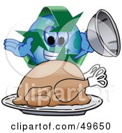 Royalty Free RF Clipart Illustration Of A Recycle Character Mascot Serving A Thanksgiving Turkey by Toons4Biz
