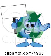 Royalty Free RF Clipart Illustration Of A Recycle Character Mascot Holding A Blank Sign by Toons4Biz