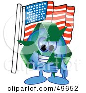Royalty Free RF Clipart Illustration Of A Recycle Character Mascot Pledging Allegiance To An American Flag by Toons4Biz