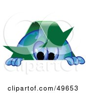 Royalty Free RF Clipart Illustration Of A Recycle Character Mascot Looking Over A Surface
