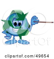 Royalty Free RF Clipart Illustration Of A Recycle Character Mascot Holding A Pointer Stick by Toons4Biz