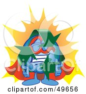 Royalty Free RF Clipart Illustration Of A Recycle Character Mascot Super Hero by Toons4Biz