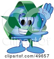 Recycle Character Mascot Waving And Pointing