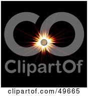 Royalty Free RF Clipart Illustration Of A Bright Bursting Orange Sun On Black