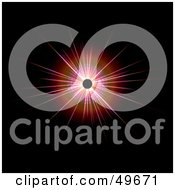 Royalty Free RF Clipart Illustration Of A Bright Bursting Red Star On Black