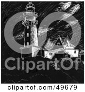Royalty Free RF Clipart Illustration Of A Black And White Sketched Lighthouse
