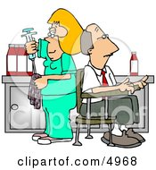 Nurse Cleaning Needle After Drawing Blood Samples From Male Patient - Medical Humor