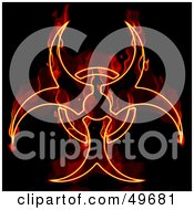 Royalty Free RF Clipart Illustration Of A Flaming Biohazard Symbol On Black by Arena Creative #COLLC49681-0094