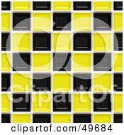 Royalty Free RF Clipart Illustration Of A Shiny Black And Yellow Square Tile Background