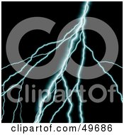 Royalty Free RF Clipart Illustration Of A Blue Bolt Of Lightning On Black by Arena Creative