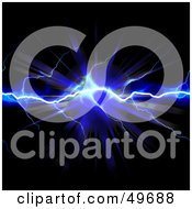 Royalty Free RF Clipart Illustration Of A Blue Bolt Of Striking Lightning With A Burst On Black by Arena Creative