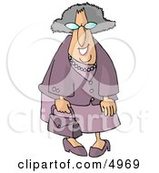 Funny Elderly Woman Going Shopping Clipart by djart