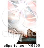 Royalty Free RF Clipart Illustration Of A Bright Fractal Burst Over A City by Arena Creative