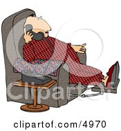 Overweight Couch Potato Man Talking On A Phone Clipart