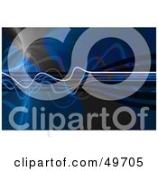 Royalty Free RF Clipart Illustration Of A Blue Wave Background With Squiggly Lines