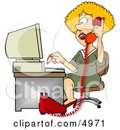 Female Customer Service Representative Talking On Phone And Using Computer Clipart