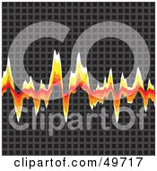 Royalty Free RF Clipart Illustration Of A Fiery Audio Wave Graph On Gray Grids by Arena Creative