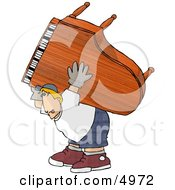 Exaggeration Of A Strong Man Moving A Heavy Grand Piano Clipart