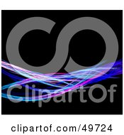 Royalty Free RF Clipart Illustration Of A Wave Of Colorful Fractal Wires On Black by Arena Creative