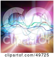Royalty Free RF Clipart Illustration Of A Colorful And Bright Background With Waves Spanning The Center by Arena Creative