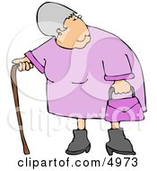 Elderly Obese Woman Standing With A Cane Clipart by djart