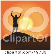 Royalty Free RF Clipart Illustration Of A Free Man Silhouetted Against An Orange Sunset At The Top Of A Mountain