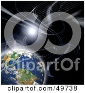 Royalty Free RF Clipart Illustration Of Rows Of Binary Coding Flowing Past Earth In Outer Space
