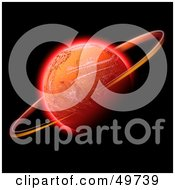 Royalty Free RF Clipart Illustration Of A Ring Rotating Around A Red Planet On Black