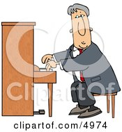 Elderly Man Playing The Piano Clipart