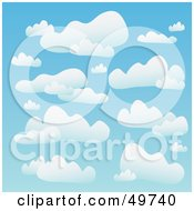 Royalty Free RF Clipart Illustration Of A Blue Background Of Puffy White Clouds In The Heavens by Arena Creative