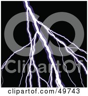 Royalty Free RF Clipart Illustration Of A Bolt Of White And Purple Lightning Over Black by Arena Creative