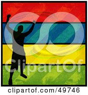 Royalty Free RF Clipart Illustration Of A Silhouetted Man Celebrating On A Colorful Grunge Background by Arena Creative