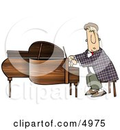 Professional Pianist Playing Grand Piano Clipart