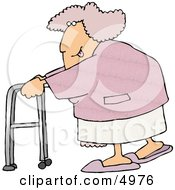 Flirty Obese Woman Sticking Her Tongue Out While Using A Walker Clipart