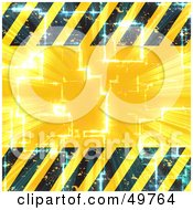 Royalty Free RF Clipart Illustration Of A Light Shining Through A Yellow Background With Hazard Stripes Borders