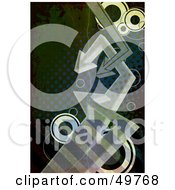 Royalty Free RF Clipart Illustration Of A Dark Halftone Arrow Background With Circles