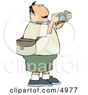 Overweight Man Taking Pictures With A Digital Camera Clipart