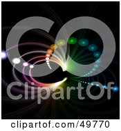 Royalty Free RF Clipart Illustration Of A Rainbow Fractal Tunnel With Orbs On Black