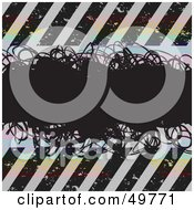 Royalty Free RF Clipart Illustration Of A Black Scribble Text Box Over Colorful Circles And Hazard Stripes