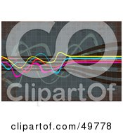 Royalty Free RF Clipart Illustration Of CMYK Cables Squiggling Over A Tiled Background