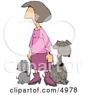 Pink Lady Taking Her Two Happy Dogs For A Walk Around The Block Clipart