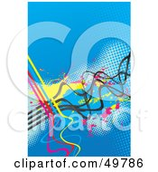 Royalty Free RF Clipart Illustration Of A Blue Halftone Background With Dots Splatters And CMYK Waves
